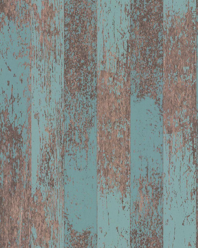 Osborne Little Driftwood Teal Metallic Copper Wallpaper Main Image