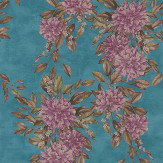 Osborne & Little Rhodora Plum / Sepia / Teal Wallpaper - Product code: W7022/01