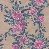 Osborne & Little Rhodora Magenta / Petrol / Champagne Gold Wallpaper - Product code: W7022/02