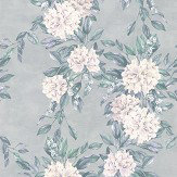 Osborne & Little Rhodora White / Teal / Gilver Wallpaper - Product code: W7022/04