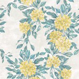 Osborne & Little Rhodora Lemon / Green / Stone Wallpaper - Product code: W7022/05