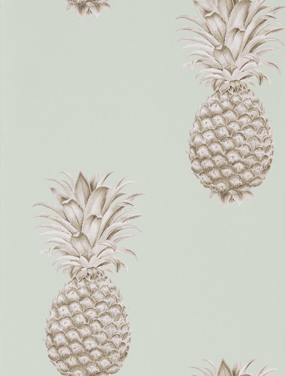 Sanderson Pineapple Royale Porcelain Sepia Wallpaper