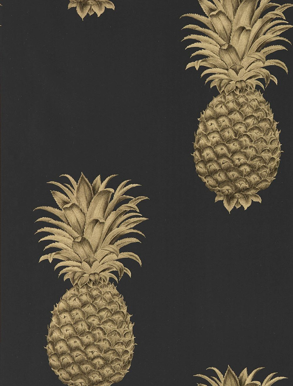 Sanderson Pineapple Royale Graphite Gold Wallpaper Main Image