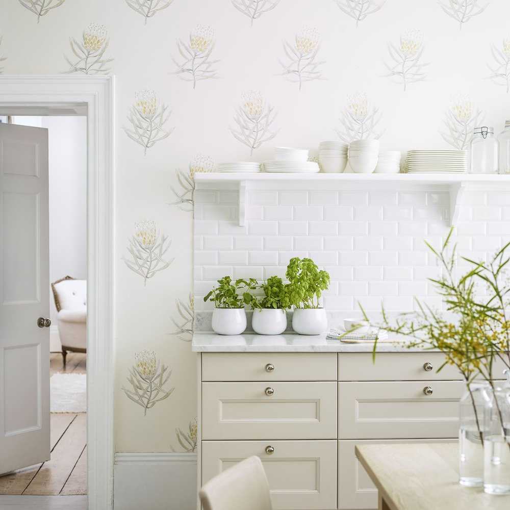 Sanderson Protea Flower Daffodil / Natural Wallpaper - Product code: 216328