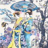 Osborne & Little Japanese Garden Violet / Petrol / Buttercup Wallpaper - Product code: W7024/01