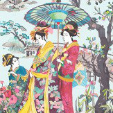 Osborne & Little Japanese Garden Teal / Fuchsia / Lemon Wallpaper