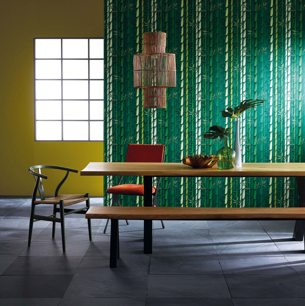 Bamboo Wallpaper - Emerald - by Osborne & Little