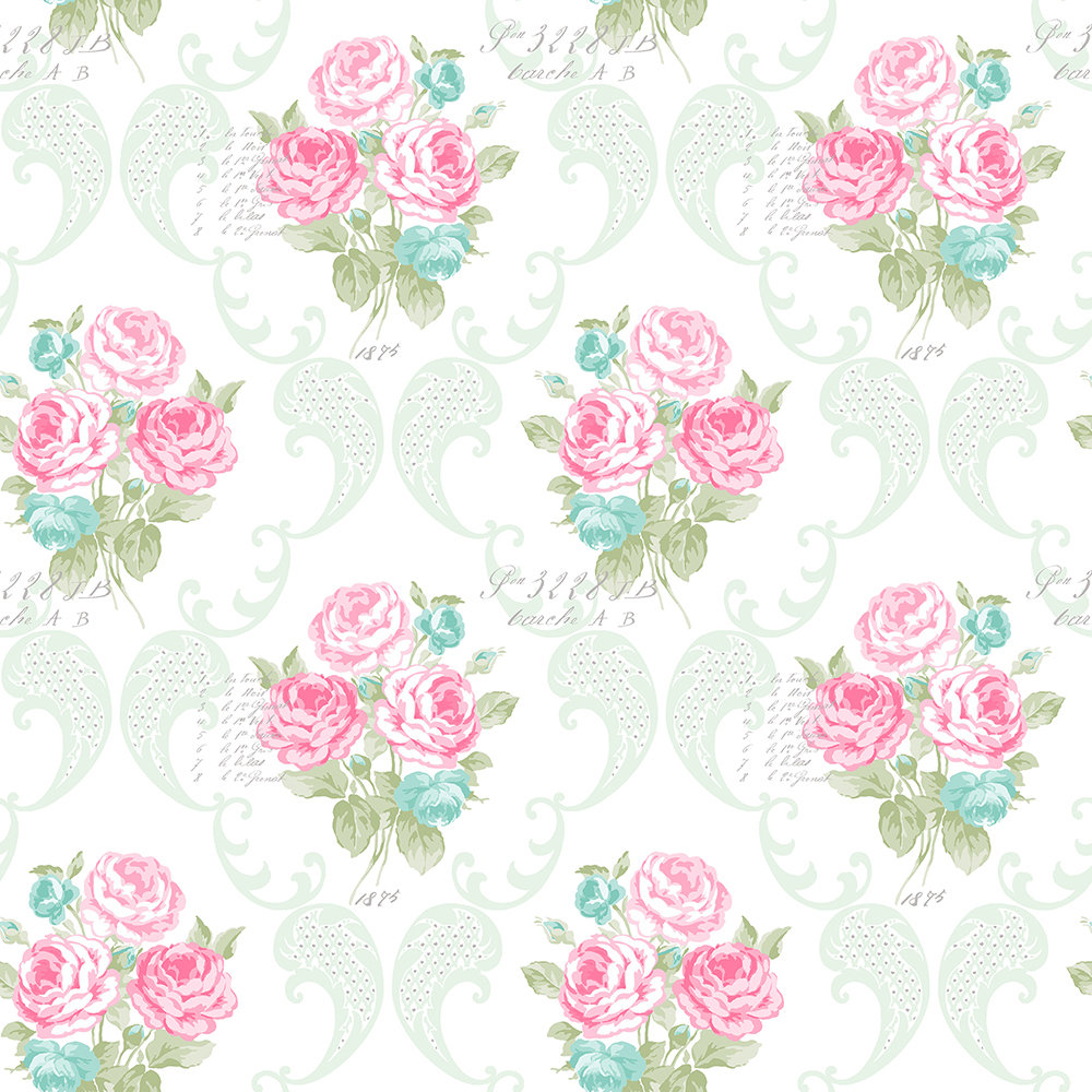 The Paper Partnership Florence Mint / Fuchsia Wallpaper - Product code: LL 00331