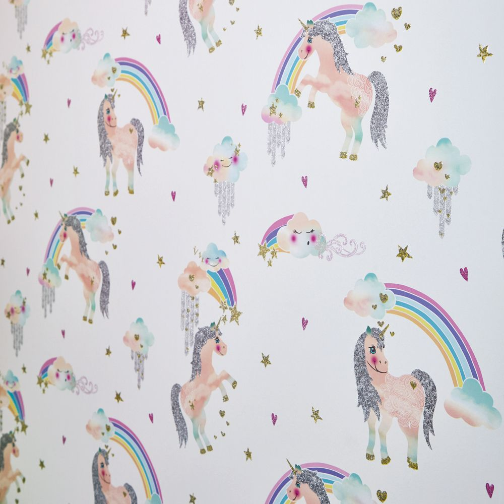 Arthouse Rainbow Unicorn White Wallpaper - Product code: 696109
