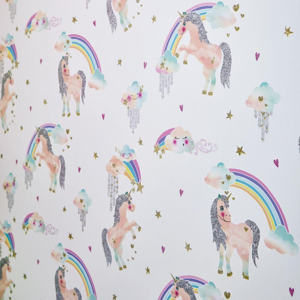 Rainbow Unicorn Wallpaper - White - by Arthouse