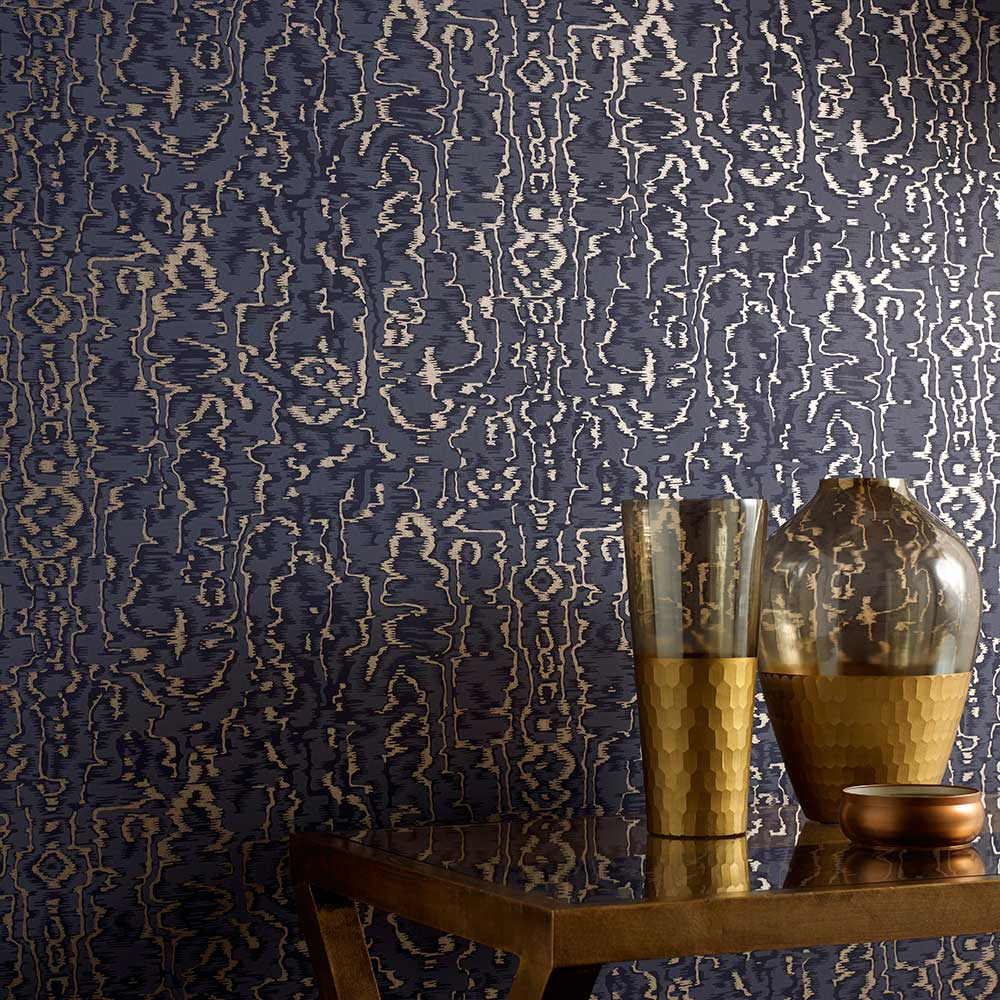 1838 Wallcoverings Avington Midnight Blue Wallpaper - Product code: 1602-105-06