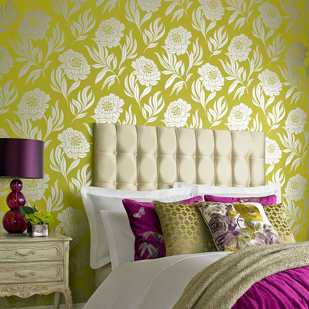 Chatsworth Wallpaper - Lime - by 1838 Wallcoverings