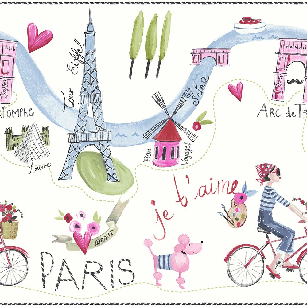 Arthouse Paris with Love Frieze Multi Border - Product code: 696302