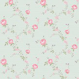 The Paper Partnership Rose Duck Egg / Pink Wallpaper - Product code: LL 00341