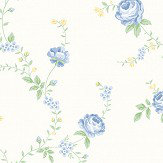 The Paper Partnership Rose Blue / Yellow Wallpaper - Product code: LL 00344