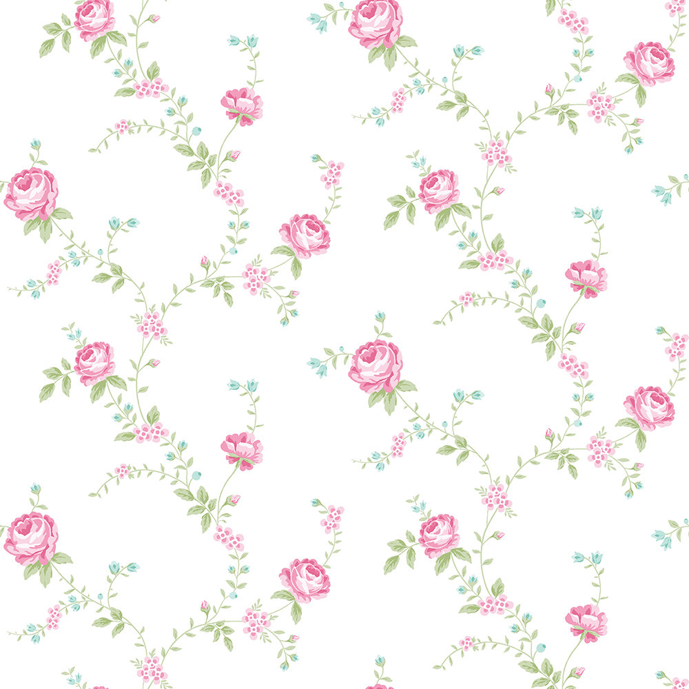 The Paper Partnership Rose Mint / Fuchsia Wallpaper - Product code: LL 00346