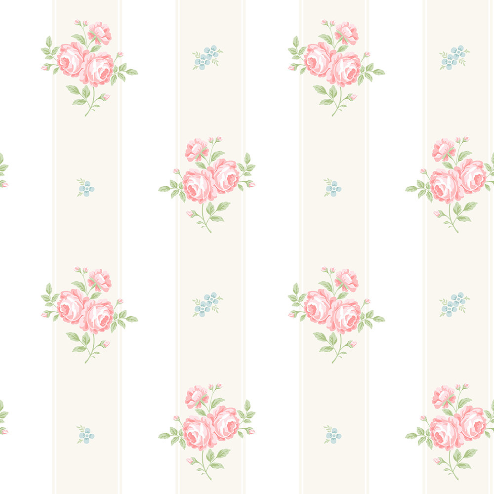 The Paper Partnership Jessica Buttermilk / Pink Wallpaper - Product code: LL 00338