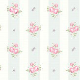 The Paper Partnership Jessica Duck Egg / Pink Wallpaper - Product code: LL 00340