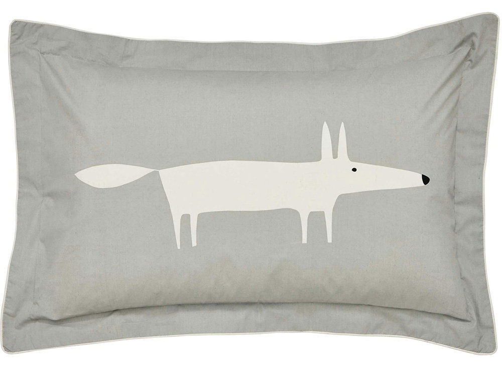 Mr Fox Oxford Pilowcase Pillowcase - Silver - by Scion