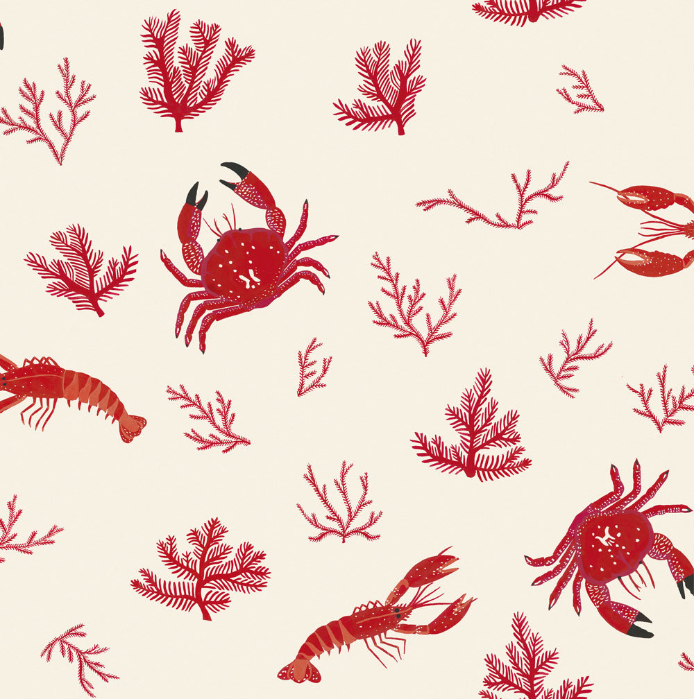 Crustaceos Wallpaper - Red - by Coordonne