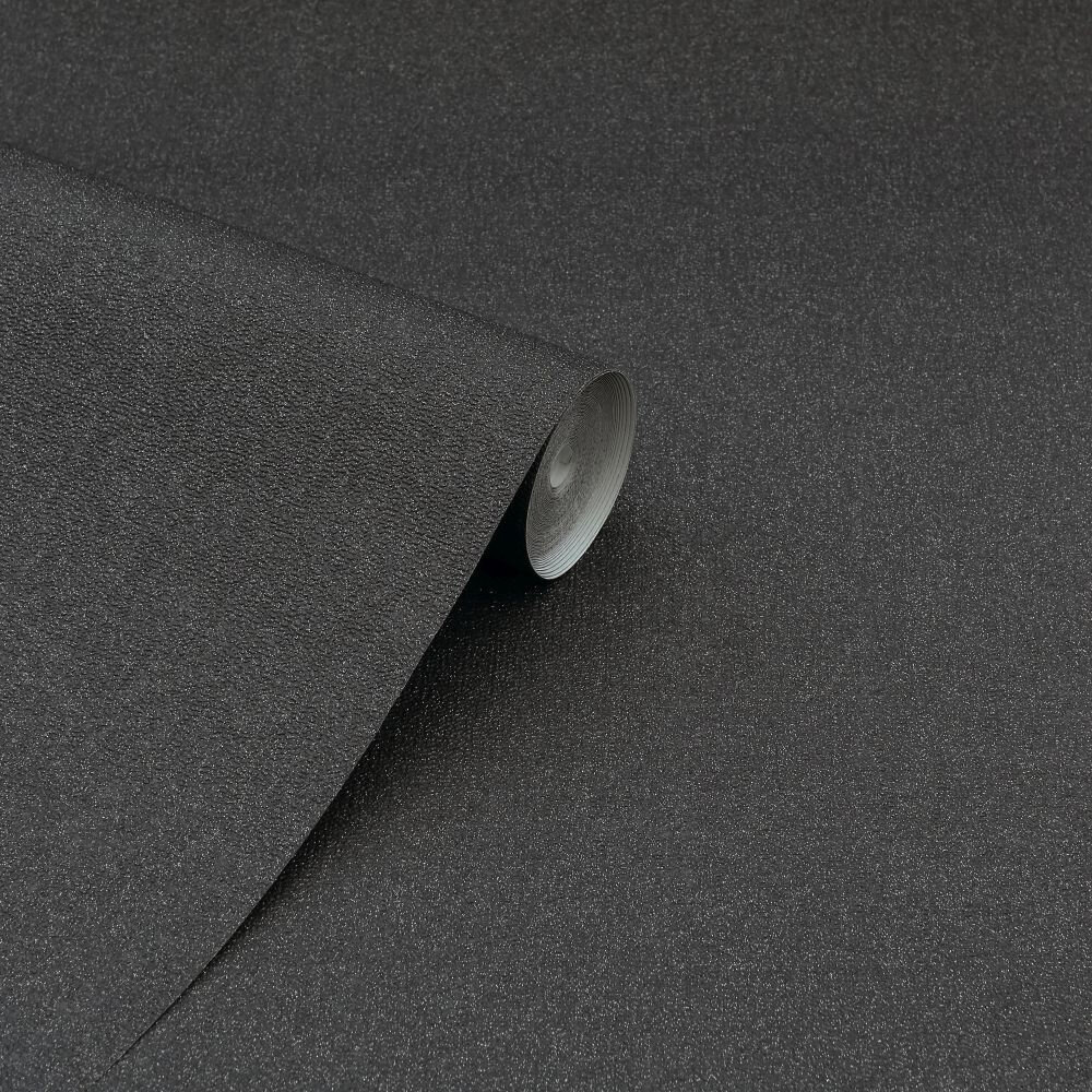 Glitterati Plain Wallpaper - Black - by Arthouse