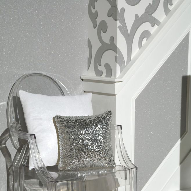 Glitterati Plain Wallpaper - Platinum - by Arthouse