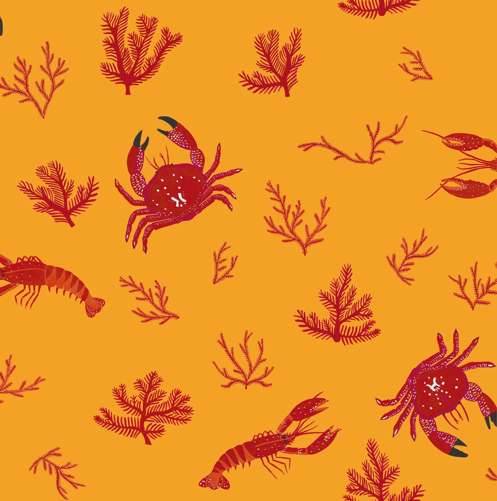 Coordonne Crustaceos Mustard Wallpaper main image