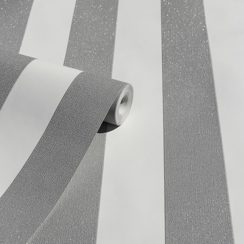 Glitterati Stripe Wallpaper - Platinum - by Arthouse