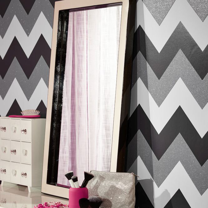 Arthouse Glitterati Chevron Black / Platinum Wallpaper - Product code: 892301