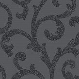 Arthouse Glitterati Scroll Black Wallpaper
