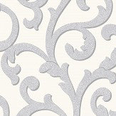 Arthouse Glitterati Scroll Platinum Wallpaper