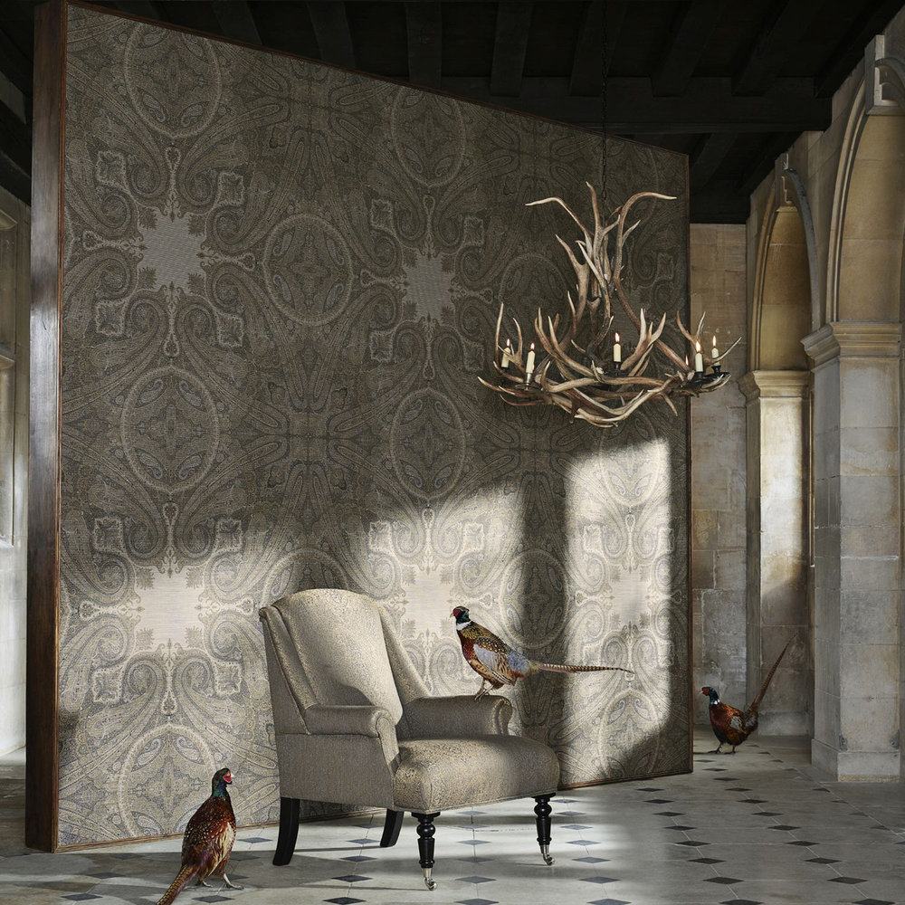 Elswich Paisley Wallpaper - Blue Umber - by Zoffany