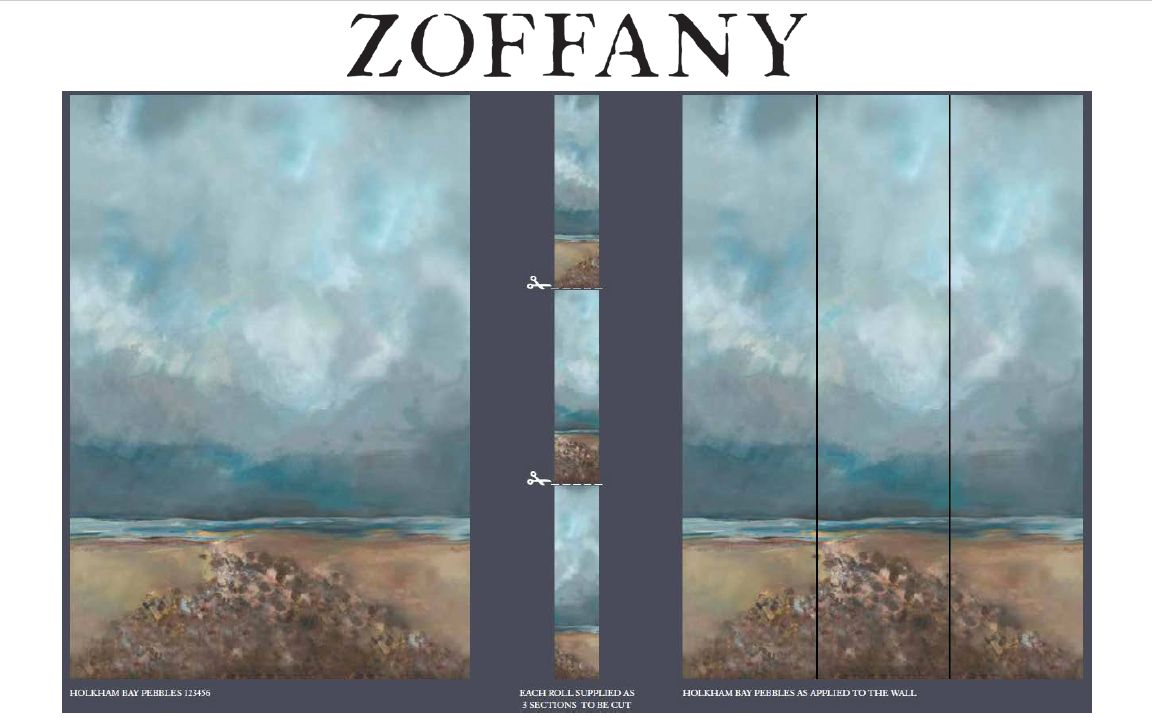 Holkham Bay Pebbles Daybreak Panels A B C By Zoffany