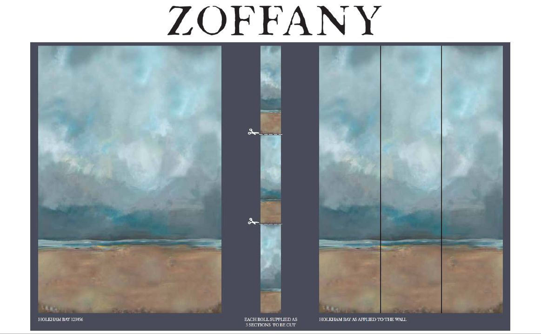 Holkham Bay Daybreak - panels A + B + C Mural - by Zoffany