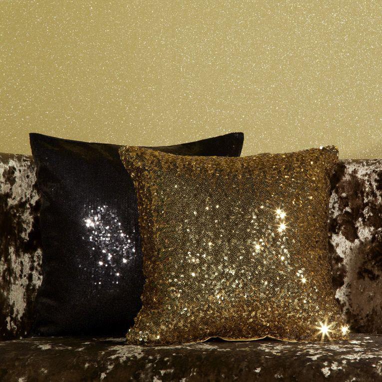 Glitz Cushion - Black - by Arthouse