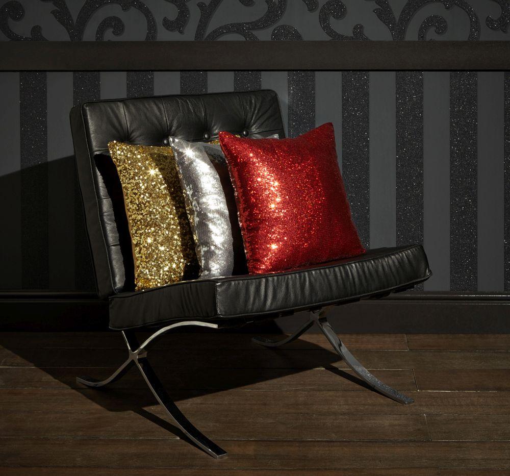 Glitz Cushion - Red - by Arthouse