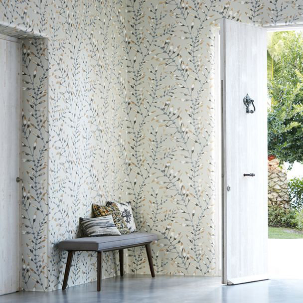 Chaconia Wallpaper - Amber / Slate - by Harlequin
