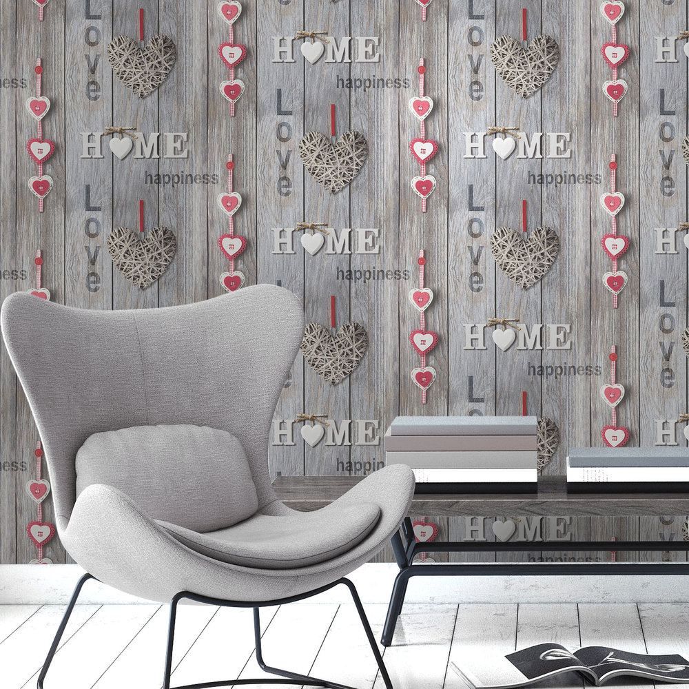 Love Your Home Wallpaper - Grey - by Albany