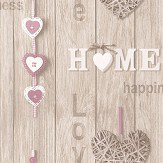 Albany Love Your Home Beige / Pink Wallpaper - Product code: 41720