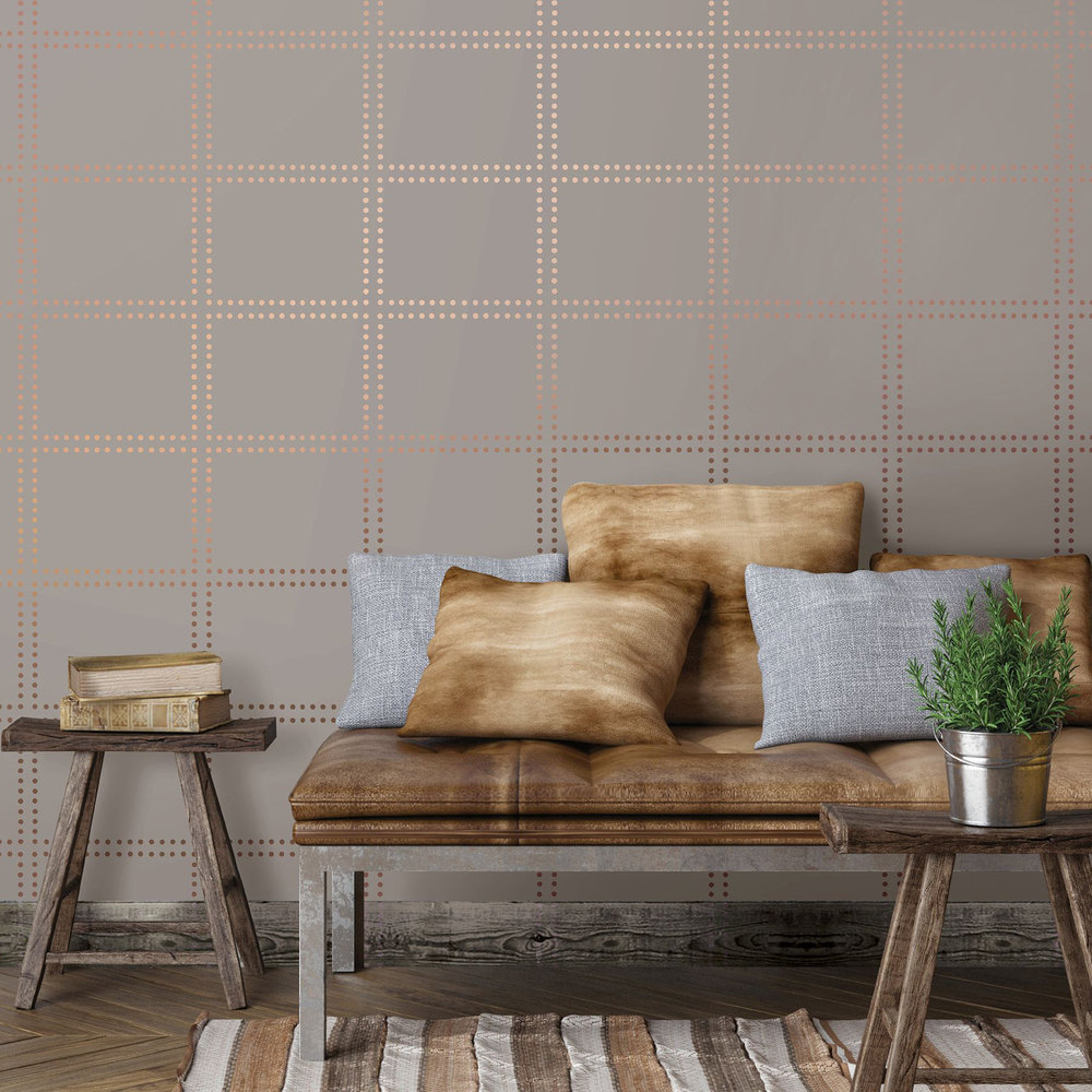 Geometrie Gridlock Wallpaper - Taupe - by Albany