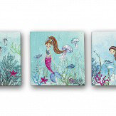 Arthouse Mermaid World Glitter - set of 3 canvases Blue Art