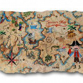Arthouse Pirates Ahoy Treasure Map Plaque Multi-coloured Art