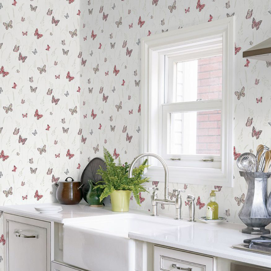 Galerie Meadow Butterflies Red Wallpaper - Product code: G12251