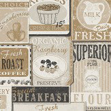 Galerie Diner Collage Cream Wallpaper