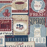 Galerie Diner Collage Blue Wallpaper