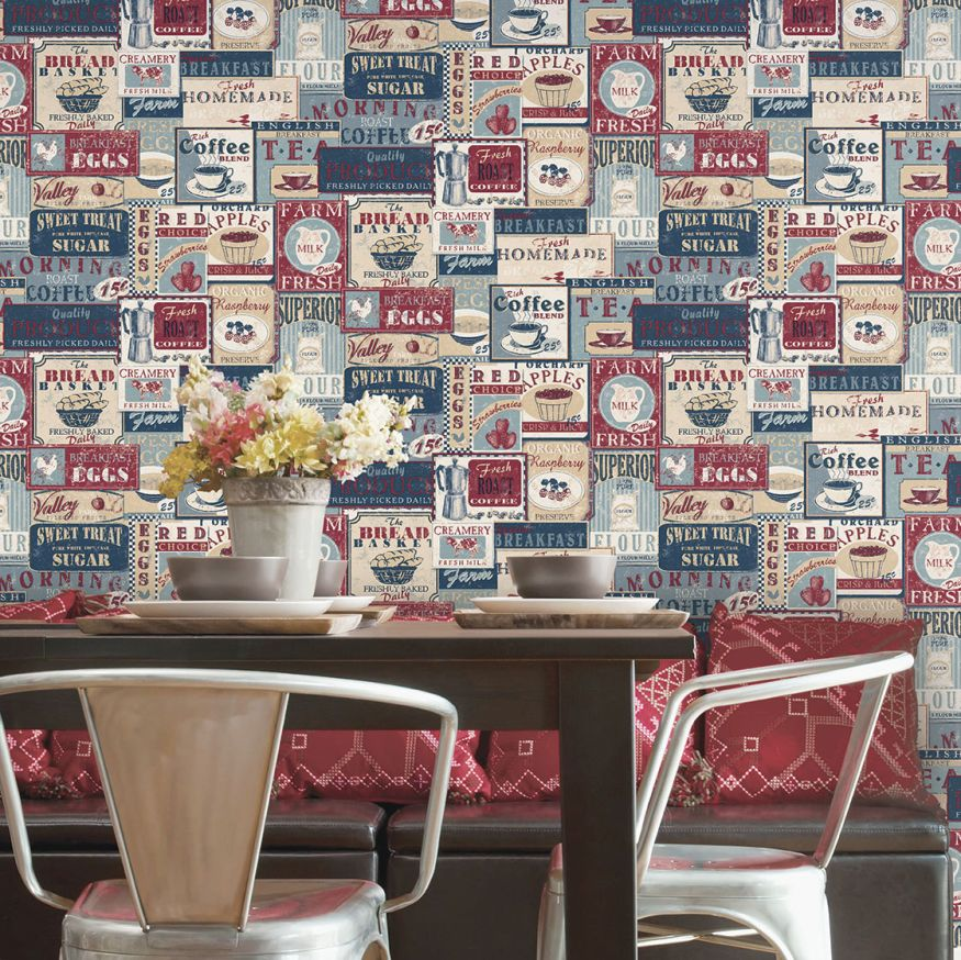 Diner Collage Wallpaper - Blue - by Galerie
