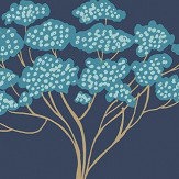 Brewers Banyon Tree Navy Blue Wallpaper