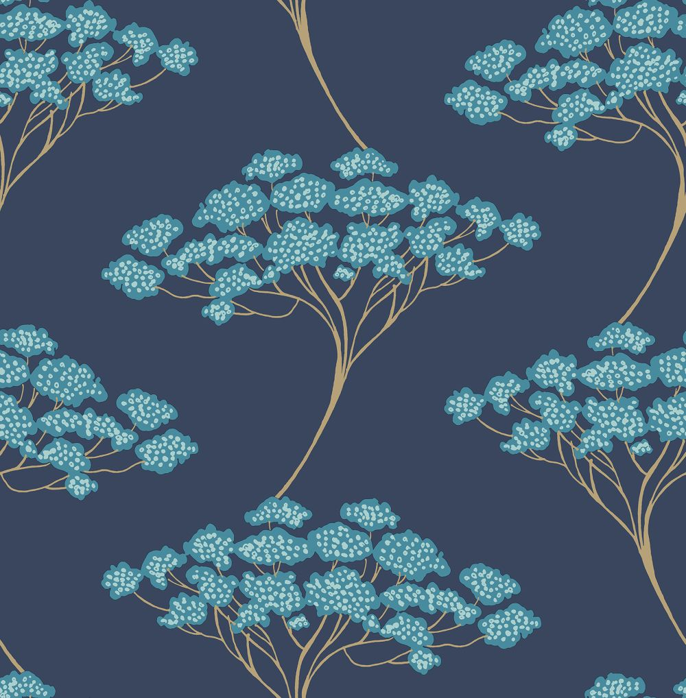 Brewers Banyon Tree Navy Blue Wallpaper main image