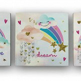Arthouse Unicorn Glitter - set of 3 Canvases Multi-coloured Art
