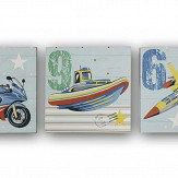 Arthouse Zoom Away - Set of 3 Canvases Multi-coloured Art